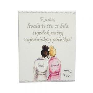 Personalizirana slika je poklon za vjenčanu kumu!. Slika je ručni rad, nosi rukom pisan i pomno odabran citat baš za osobu kojoj darujete