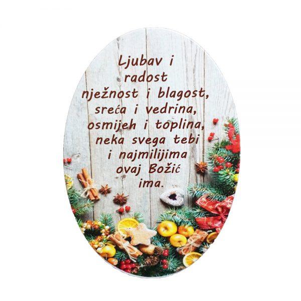 Drvena slika sa ručno pisanim personaliziranim tekstom.