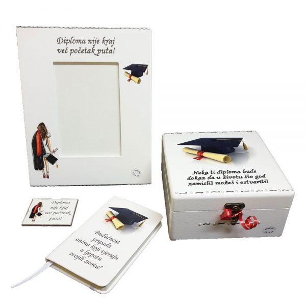 Personalizirani poklon set savršena je uspomena na dan diplomiranja.