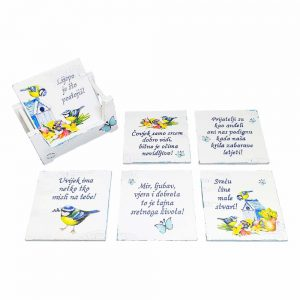 Personalized coasters are an original and practical gift adorned with handwritten text.