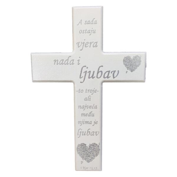 Veliki zidni križ rukom ispisanim tekstom Ljubav, nada, vjera i obitelj. Lijepi poklon za vjenčanje, useljenje, rođendan.