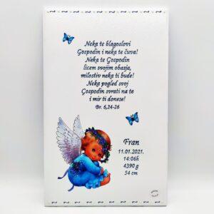 Personalizirana slika je poklon za krštenje. Slika je ručni rad, nosi rukom pisan i pomno odabran citat baš za osobu kojoj darujete